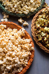 Close up of popcorn served in wicker plate