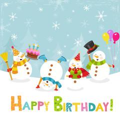 Winter Birthday Card With Snowmen