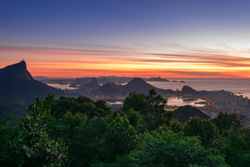 Fototapete - Beautiful View of Rio de Janeiro Before Sunrise at Chinese View (Vista Chinesa)