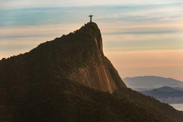 View of Corcovado Mountain in Rio de Janeiro at Sunrise