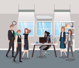 modern office with business people