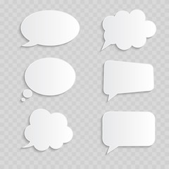White blank retro speech bubbles set on transparent background. Vector Illustration