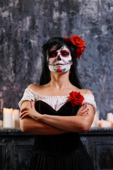 Halloween photo of woman with white make-up