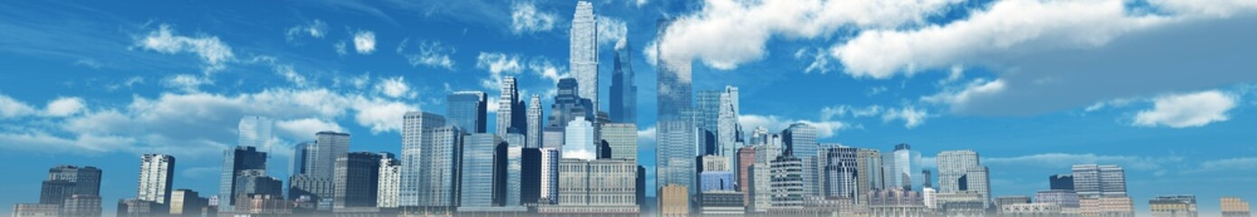 Wall Mural - modern city, panorama of a city landscape against the sky with clouds,