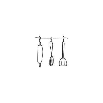 Kitchen logo elements, kitchenware. Vector hand drawn object.