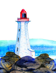 White cartoon lighthouse on stone coast with ocean on the  background. Hand drawn watercolor illustration