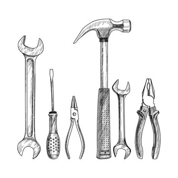 Black and white vector illustration. Drawn set of tools. Screwdriver, wrench, hammer, pliers