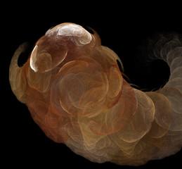 Brown white fractal on black background. Fantasy fractal texture. Digital art. 3D rendering. Computer generated image.