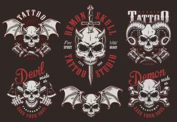 Vintage demon skull tattoo studio labels