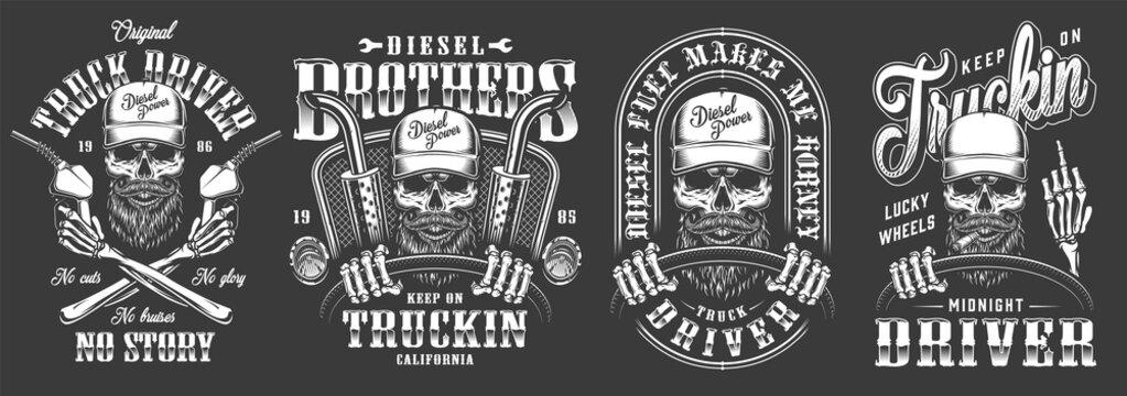 Vintage monochrome truck driver labels set