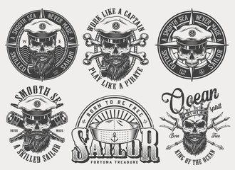 Vintage monochrome nautical labels set