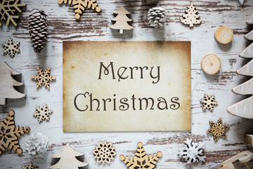 Rustic Christmas Decoration, Paper, Text Merry Christmas