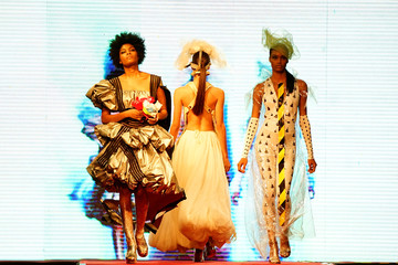 Models present creations from Clandestina collection during a fashion show in Havana