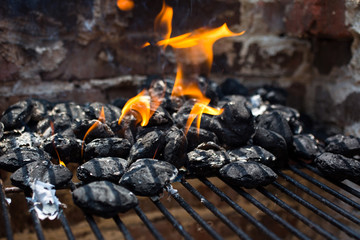 Close up of charcoal on barbecue grill