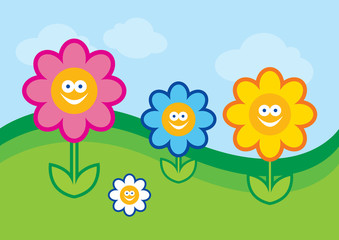 Funny flower vector illustration. Flower cartoon character. Happy colorful flowers. Crazy flowers on a meadow vector