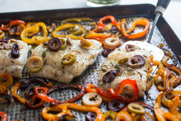 Close up of fish in baking tray