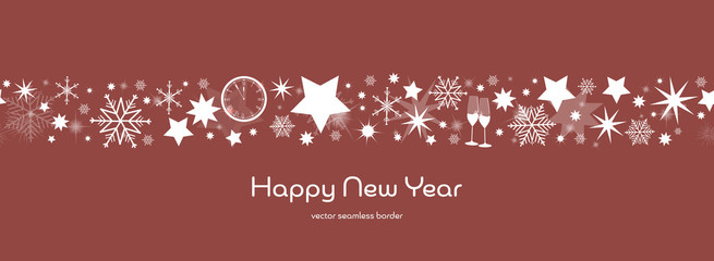 Happy New Year. Dark blue and golden snowflake and star seamless border with glasses of champagne, clock and fireworks. Text : Happy New Year