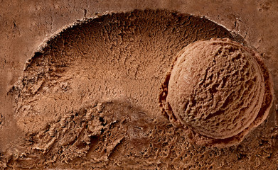 Chocolate ice cream scoop on spooned ice cream background