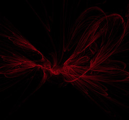 Red abstract on black background. Fantasy fractal texture. Digital art. 3D rendering. Computer generated image.