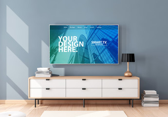 Smart TV Hanging on Blue Wall Mockup