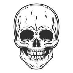 Skull monochrome style isolated vector on white background