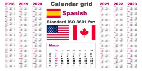 American calendar standard US. Spanish hispanic language 2018 2019 2020 2021 2022 2023 week starts on Sunday, USA.