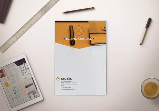Bifold Brand Identity Manual with Orange Accents