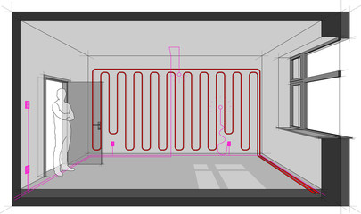 Diagram of a single room heated with wall heating and with electric installations and cables and  switches and lamps