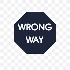 Wrong Way sign transparent icon. Wrong Way sign symbol design from Traffic signs collection.