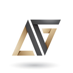 Black and Beige Folded Triangle Letters A and G Vector Illustration