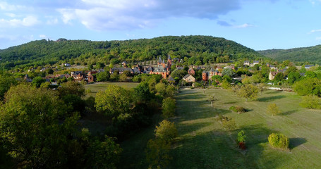 French village in aerial view, Collonges France
