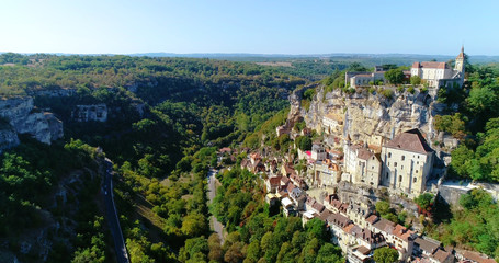 French village in aerial view, Rocamadour France