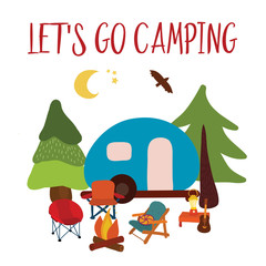 Let's go camping Travel vector illustration - summer camping. Blue camping van with campfire, chairs and guitar. Forest adventure. Camp night scene. For cards, poster, advertisement, decor