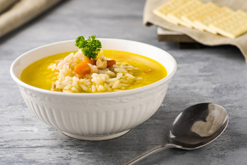 Chicken & rice soup, comfort food in good health and bad.