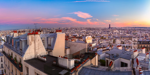 Aerial panoramic view from Montmartre over Paris roofs at nice sunrise, Paris, France