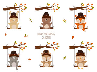 Happy Thanksgiving Collection. Perfect for greeting card, poster or flyer for holiday. Funny animals on a swing.