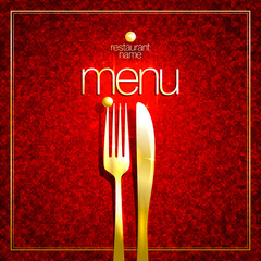 Restaurant menu card cover design with golden fork and knife against mosaic background