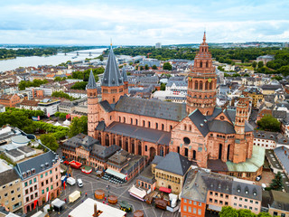 Mainz cathedral aerial view, Germany
