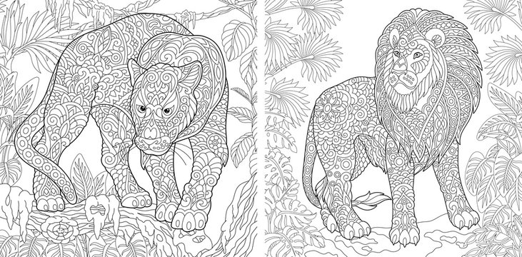 Coloring pages with panther and lion