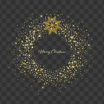 Christmas wreath with snowflakes. Winter holiday gold glitter decoration on transparent background. Vector shine illustration. Design element for cards, invitations, posters and banners