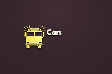 Text Cars with yellow 3D illustration and brown background