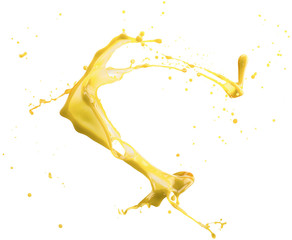 Fototapete - yellow paint splash isolated on a white background