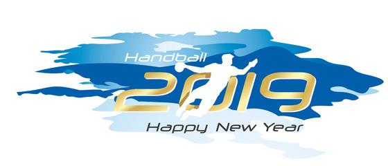 Handball 2019 Happy New Year gold logo icon watercolor blue white background