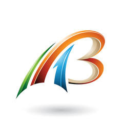 Orange and Beige Flying Dynamic 3d Letters A and B Vector Illustration
