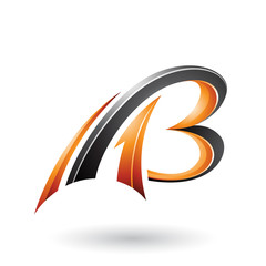 Orange and Black Flying Dynamic 3d Letters A and B Vector Illustration