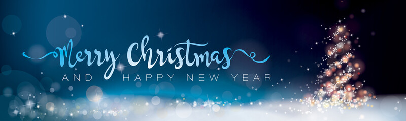 Papiers peints Bleu nuit MERRY CHRISTMAS AND HAPPY NEW YEAR_BANNER