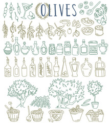 Olives doodles set. Fresh, stuffed, green, black, canned, olive oil bottles, trees, branches, leaves, market. Hand drawn vector illustration isolated on white background