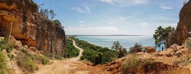 View down to Bahia de las Aguilas Beach, Dominican Republic.