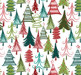 Christmas tree seamless pattern. Colorful, quirky trees are dressed for the holidays in this all-over repeating pattern for fabric, gift wrap, backgrounds, cards, scrapbook paper and more.