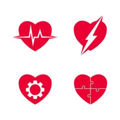 Heart abstract vector set